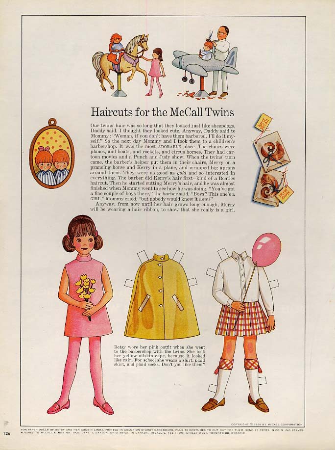 Image for Betsy McCall Haircuts for the McCall Twins paper doll page 3 1968