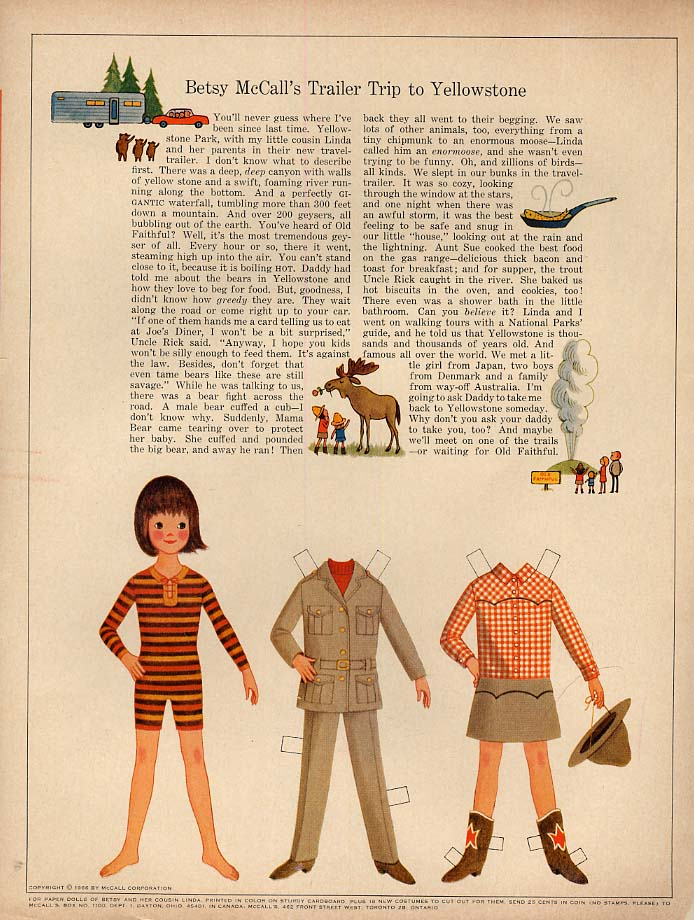 Image for Betsy McCall's Trailer Trip to Yellowstone paper doll page 9 1966