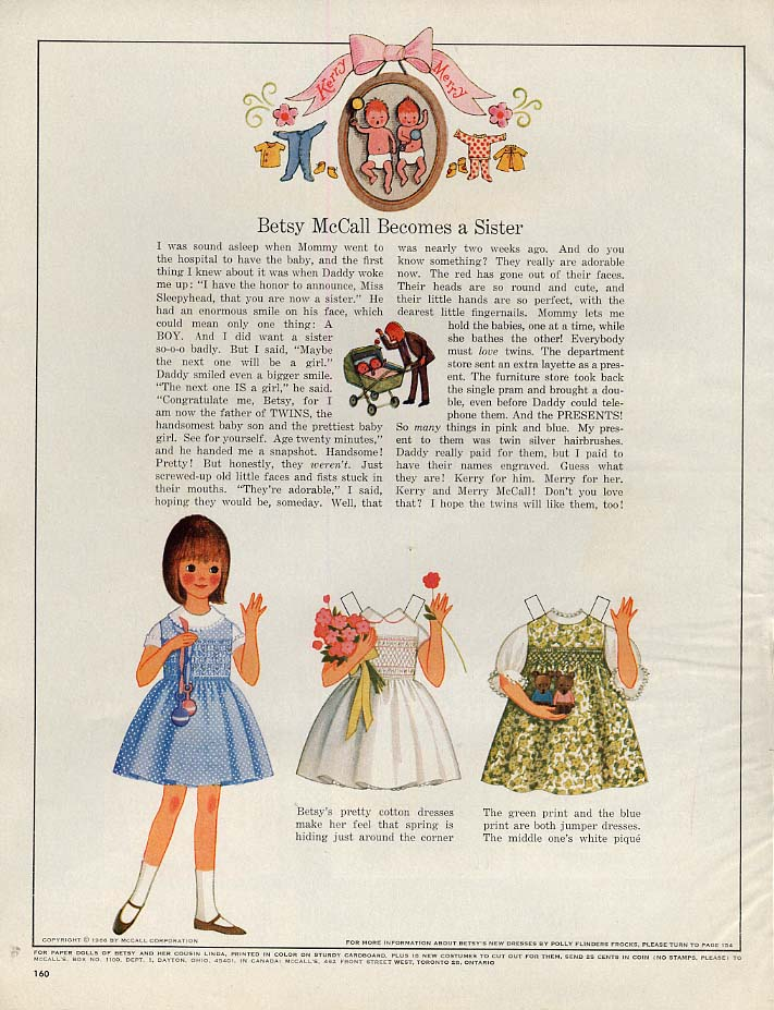 Image for Betsy McCall Becomes a Sister paper doll page 2 1966