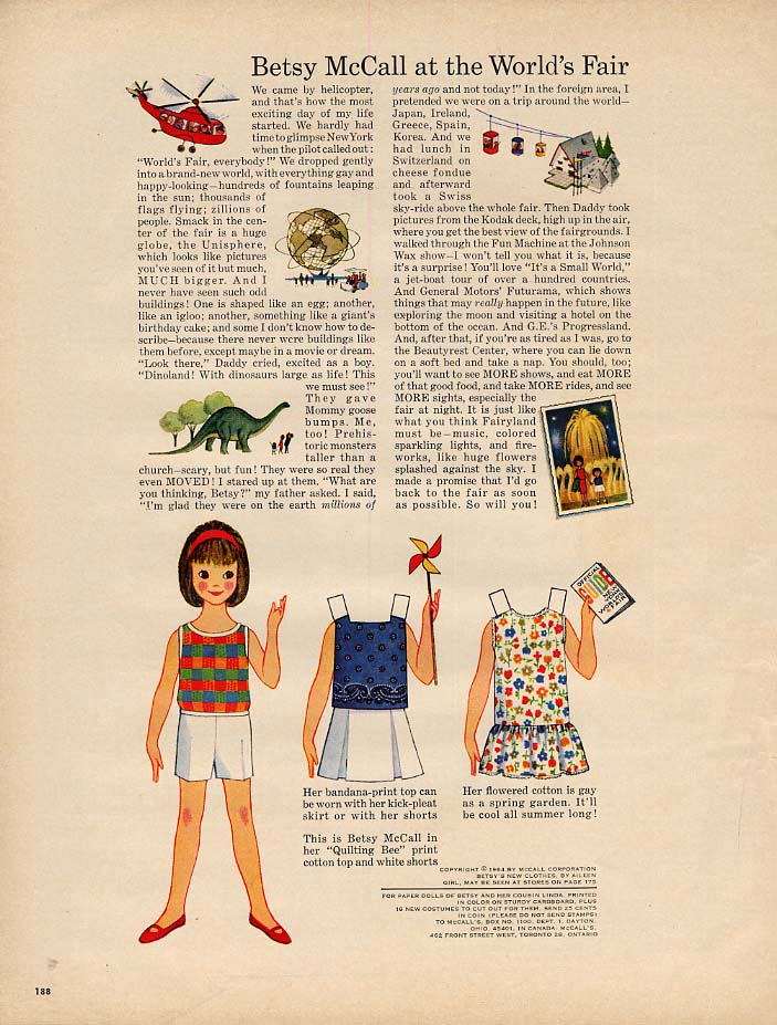 Image for Betsy McCall at the New York World's Fair paper doll page 4 1964