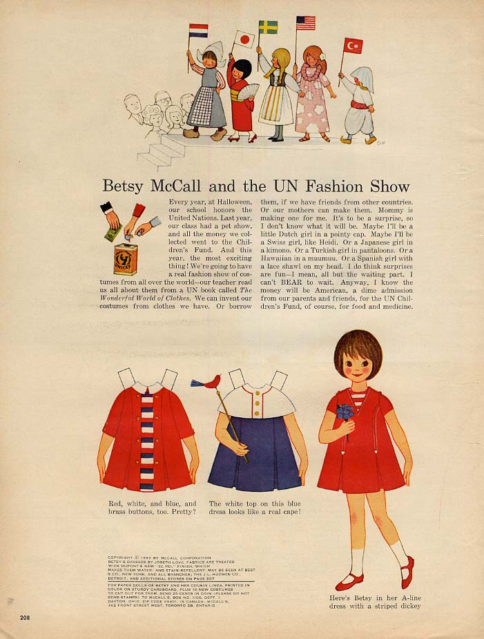 Betsy McCall and the UN Fashion Show paper doll page 10 1963