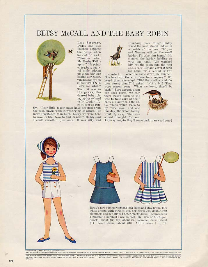 Betsy McCall and the Baby Robin paper doll page 5 1964
