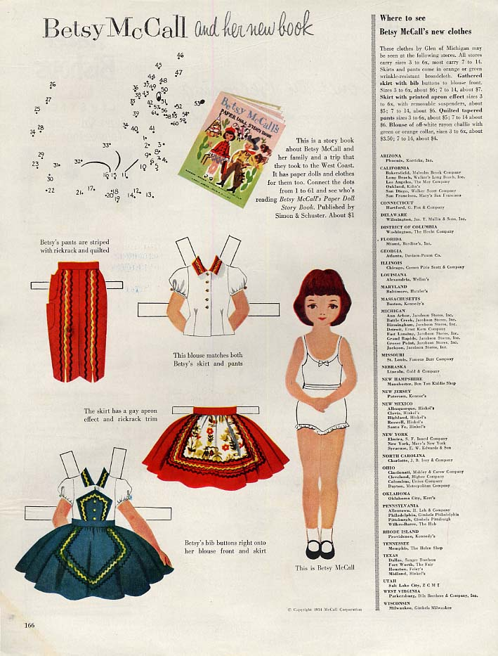 Betsy McCall and Her New Book paper doll page 10 1954