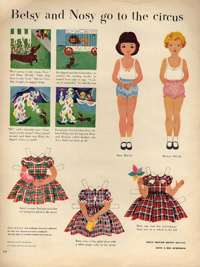 Betsy McCall & Nosy go to the circus paper doll page 8 1952