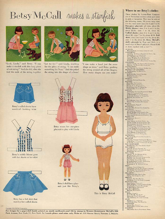 Image for Betsy McCall makes a starfish paper doll page 5 1955