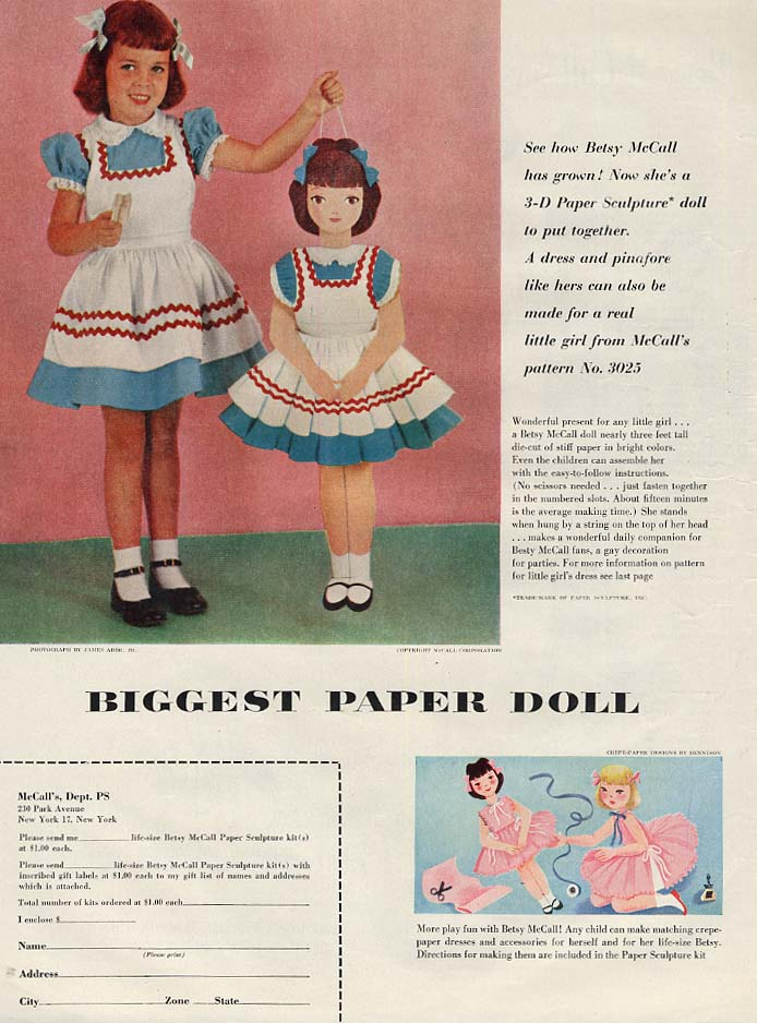Betsy McCall 3-D Paper Sculpture Biggest paper doll page 11 1954