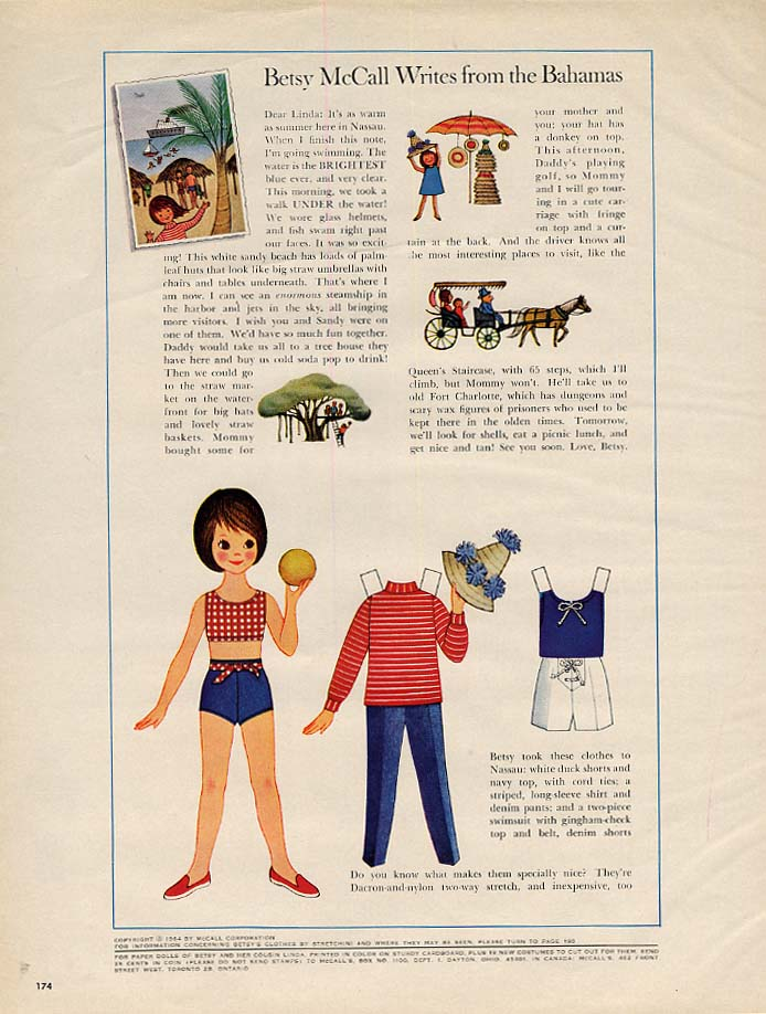 Image for Betsy McCall Writes from the Bahamas paper doll page 2 1964