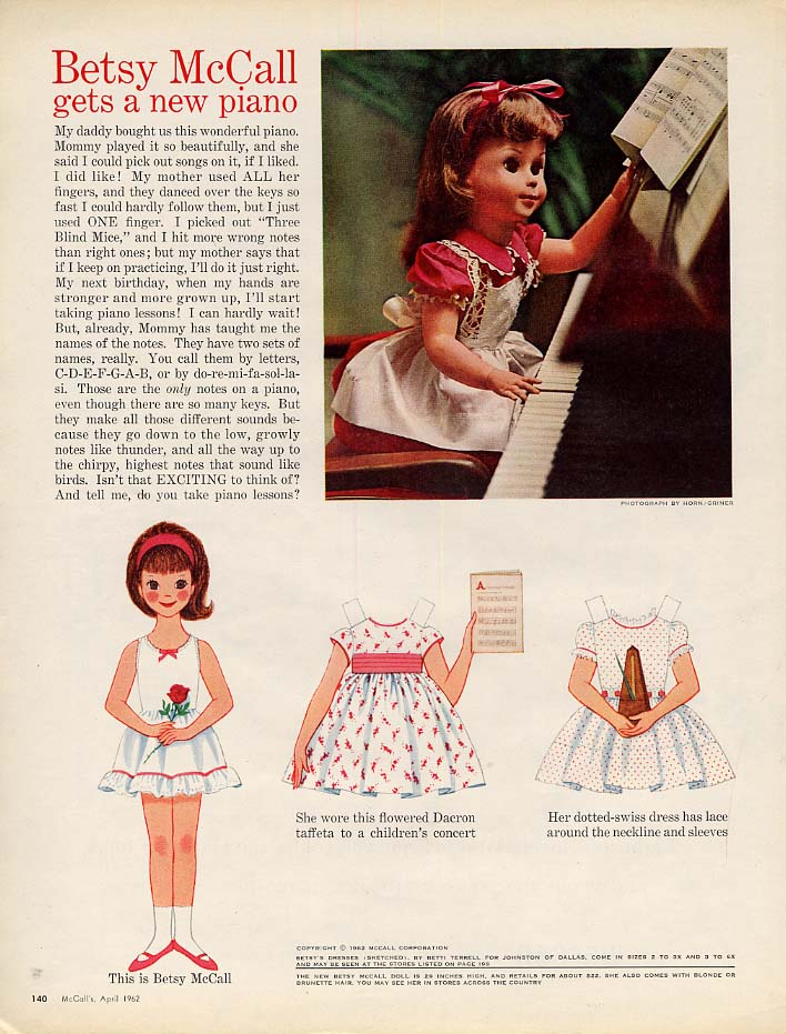 Image for Betsy McCall gets a new piano paper doll page 4 1962