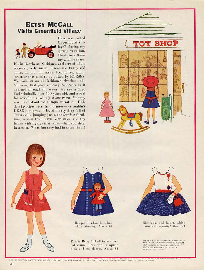 Image for Betsy McCall visits Greenfield Village paper doll page 4 1963