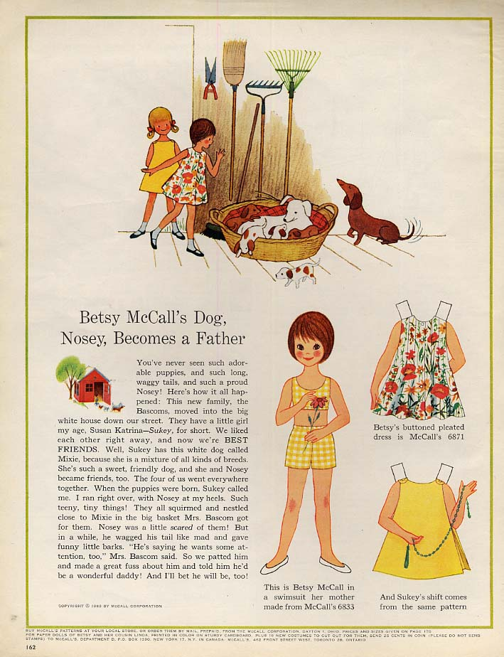 Image for Betsy McCall's dog Nosy Becomes a Father paper doll page 6 1963