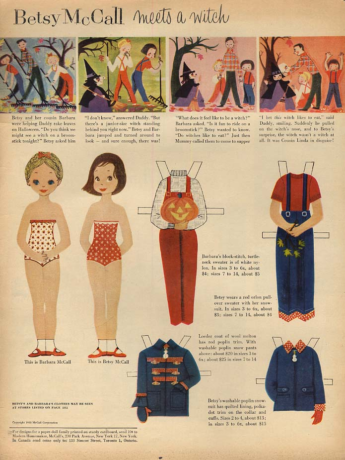 Image for Betsy McCall meets a witch paper doll page 10 1955 Halloween