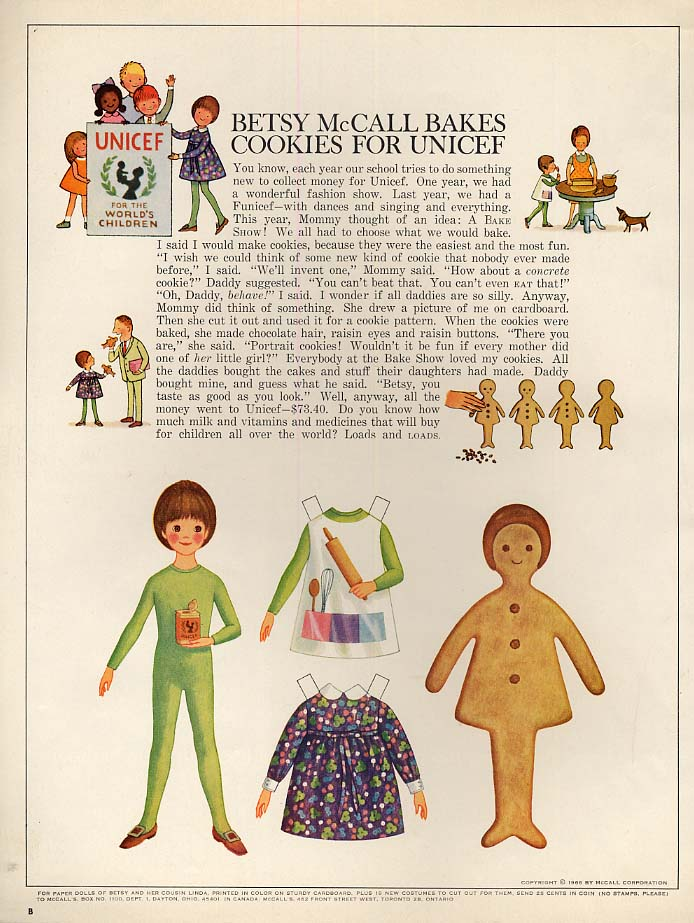 Image for Betsy McCall Bakes Cookies for UNICEF paper doll page 10 1966
