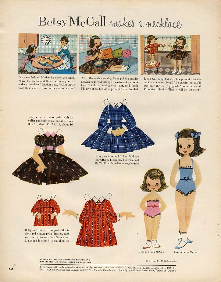 Image for Betsy McCall makes a necklace paper doll page 9 1956