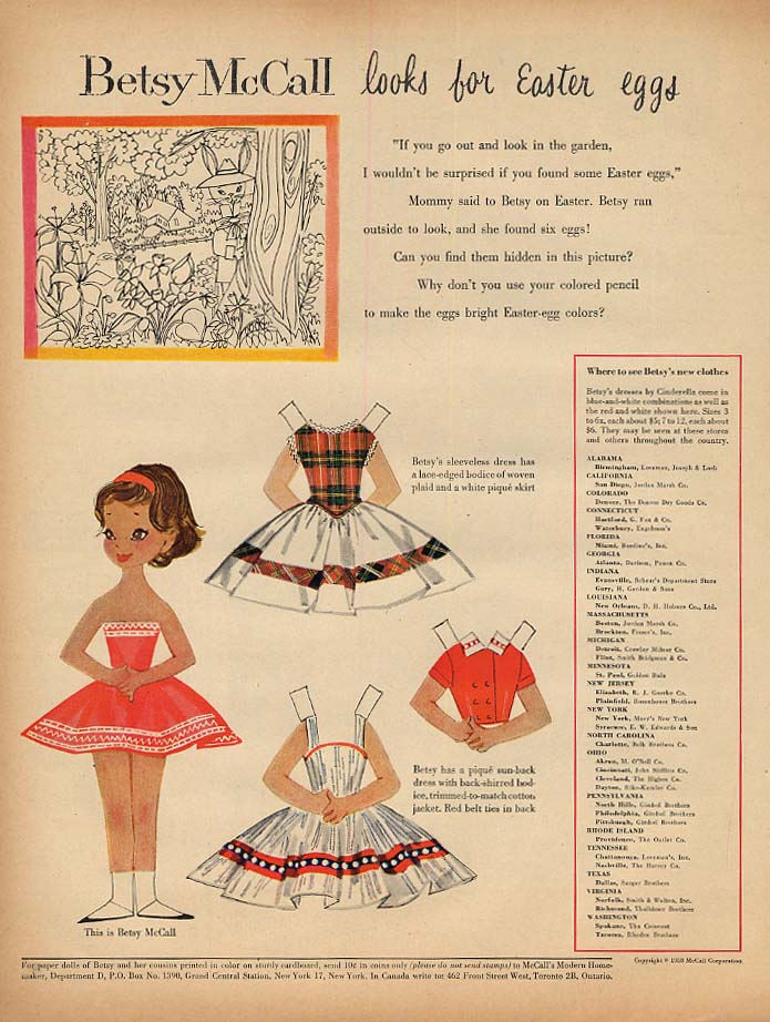 Image for Betsy McCall looks for Easter Eggs paper doll page 4 1958