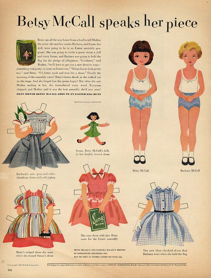 Image for Betsy McCall speaks her piece paper doll page 3 1952