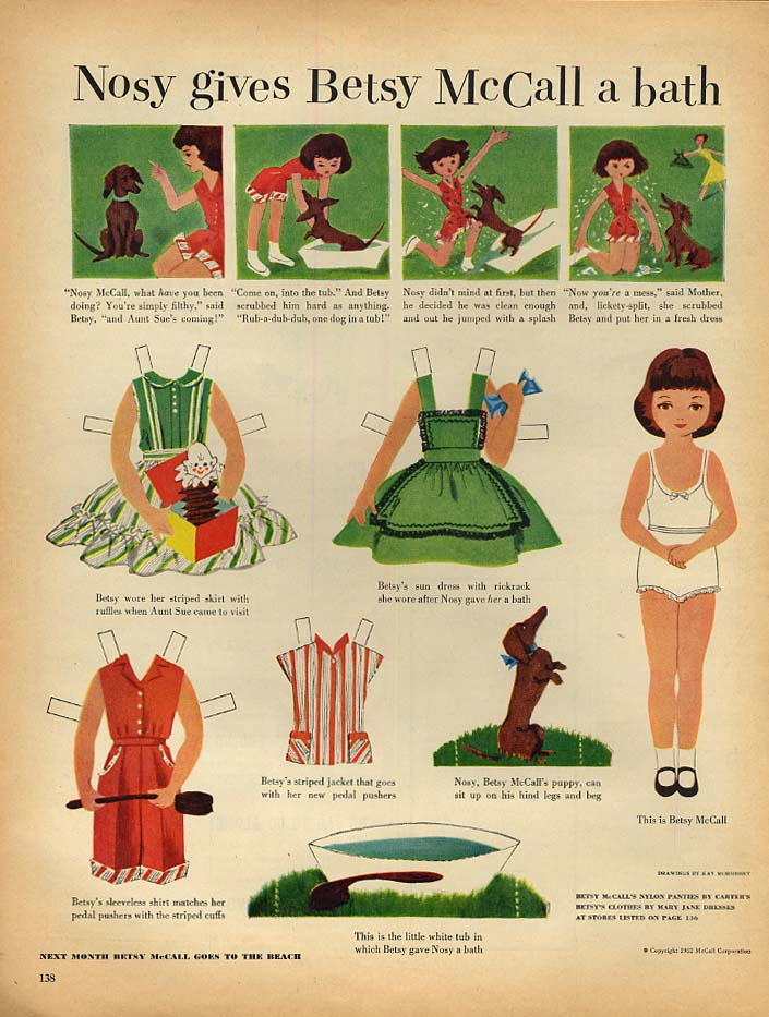 Image for Nosy gives Betsy McCall a bath paper doll page 6 1952