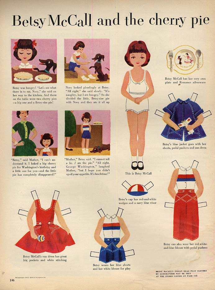 Betsy McCall and the cherry pie paper doll page 2 1953