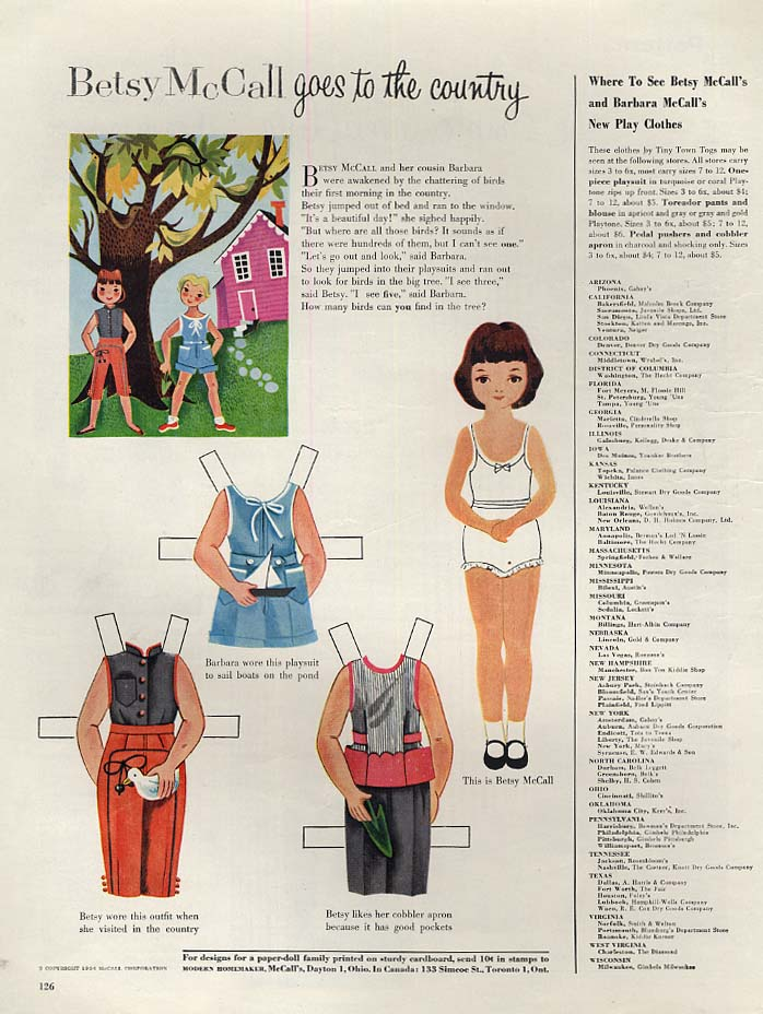Image for Betsy McCall goes to the country paper doll page 6 1954