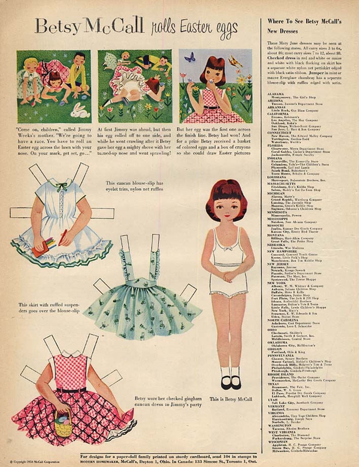 Image for Betsy McCall rolls Easter Eggs paper doll page 4 1954