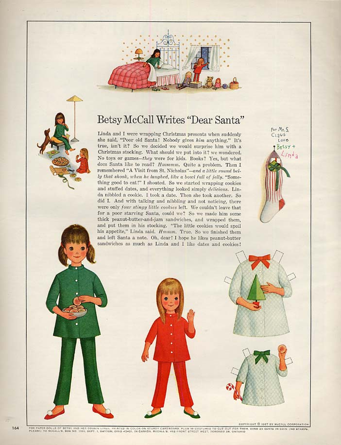 "Image for Betsy McCall Writes ""Dear Santa"" paper doll page 12 1967"