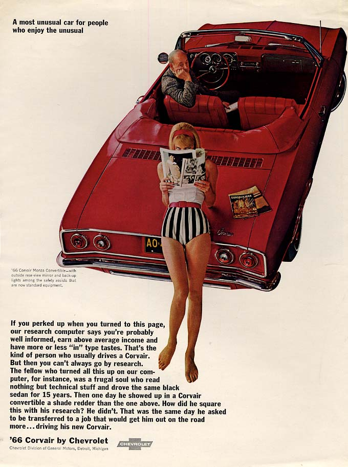 A most unusual car for people who enjoy the unusual Corvair Convertible ad 1966