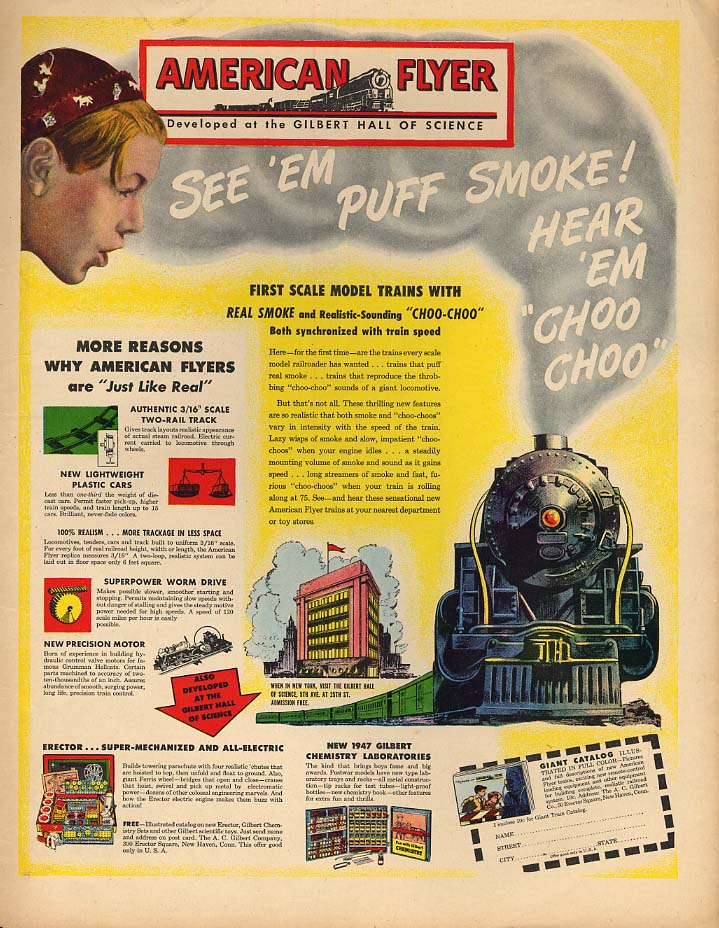 First Scale Model Trains with Real Smoke American Flyer Electric Trains ad 1946