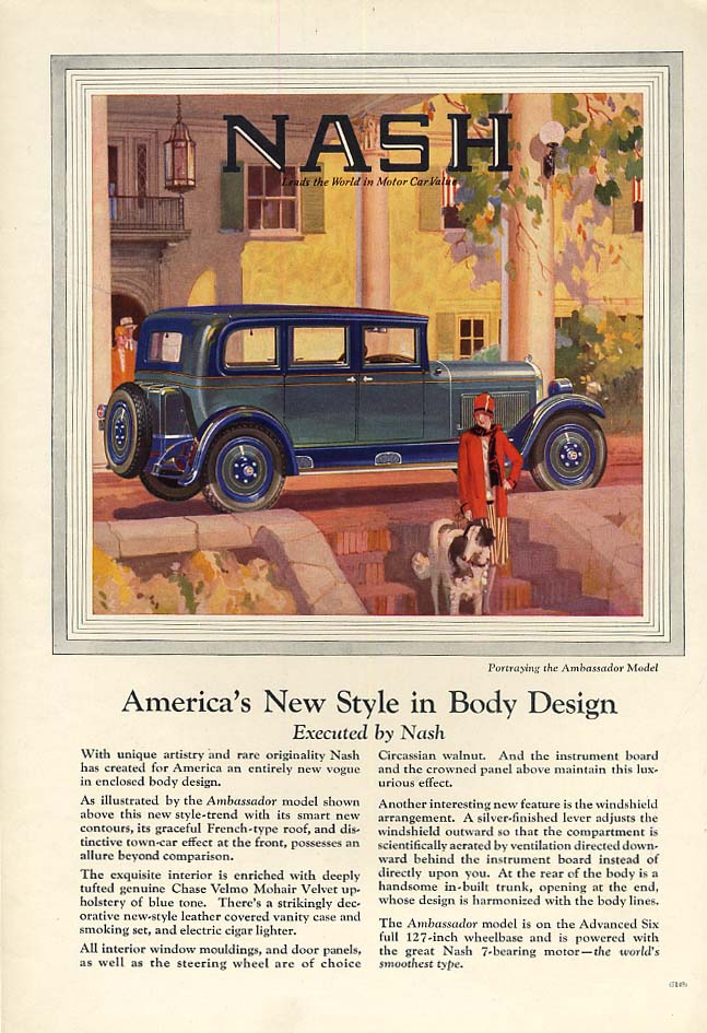 America's New Style in Body Design - Nash Ambassador Sedan ad 1927 A&D
