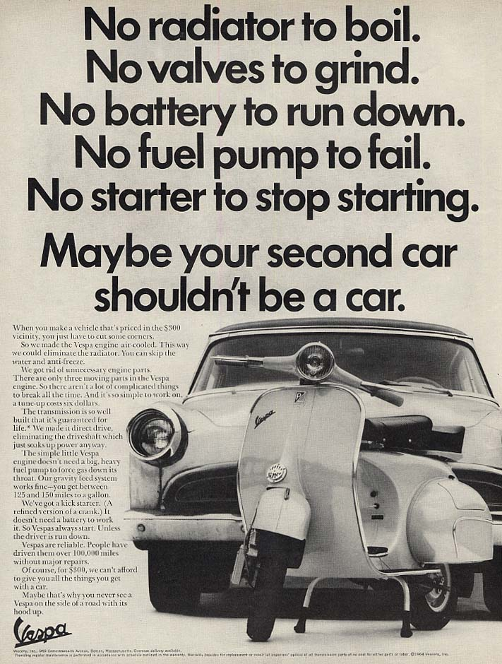 Image for Maybe your second car shoudn't be a car Vespa Motorscooter ad 1965 L