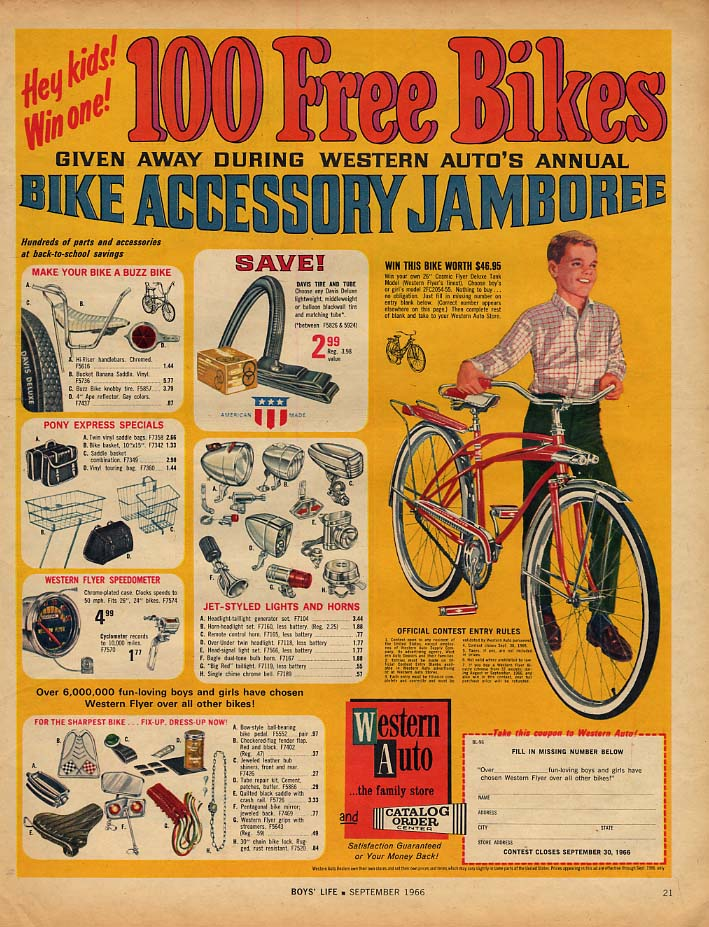 100 Free Bikes - Western Auto Cosmic Flyer bicycle ad 1966 BL