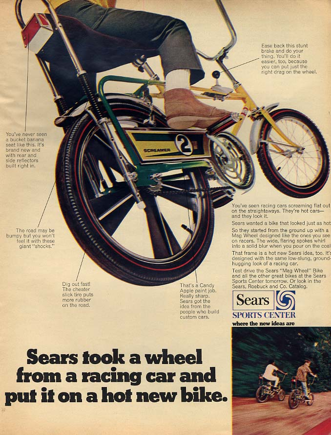Sears took a wheel from a racing car & put it on the Screamer 2 bicycle ad 1969