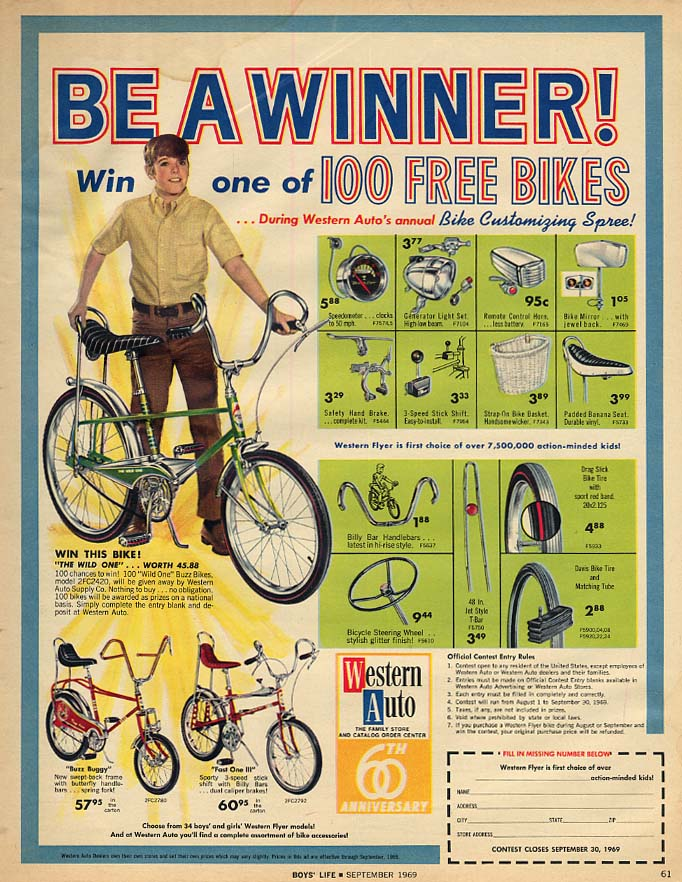 Be a Winner! Western Auto The Wild One Buzz Buggy Fast One III bicycle ad 1969
