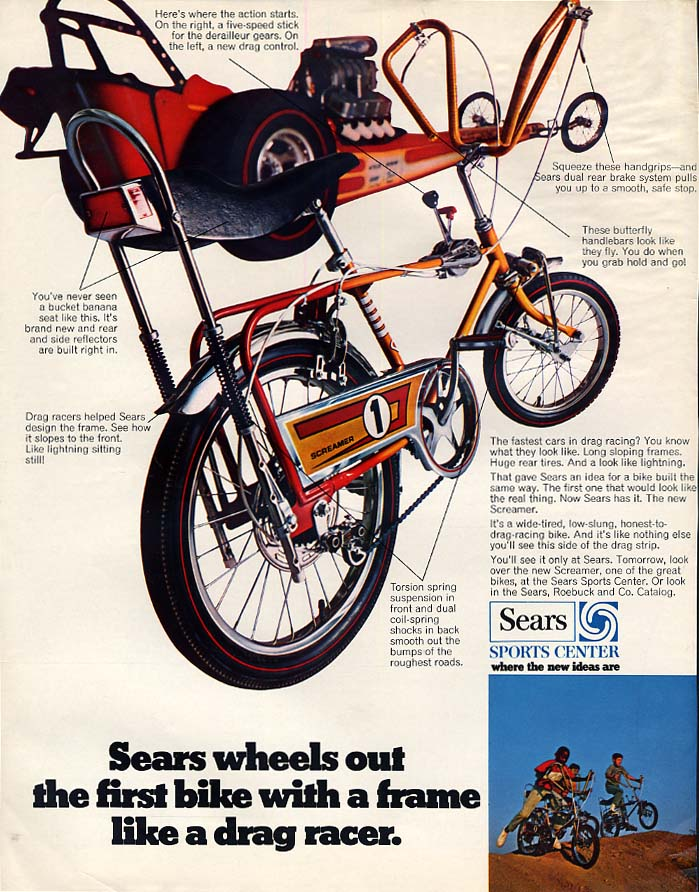Sears wheels out the Screamer 1 bicycle ad 1969 BL