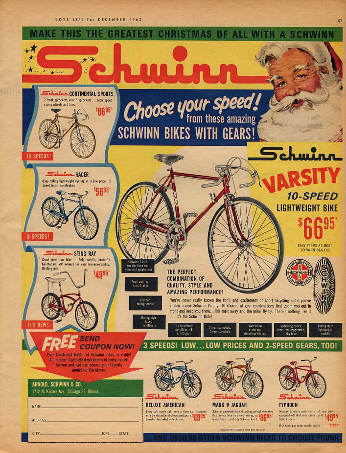 Image for Choose your speed! Schwinn Varsity Sting Ray Continental ad 1963 BL
