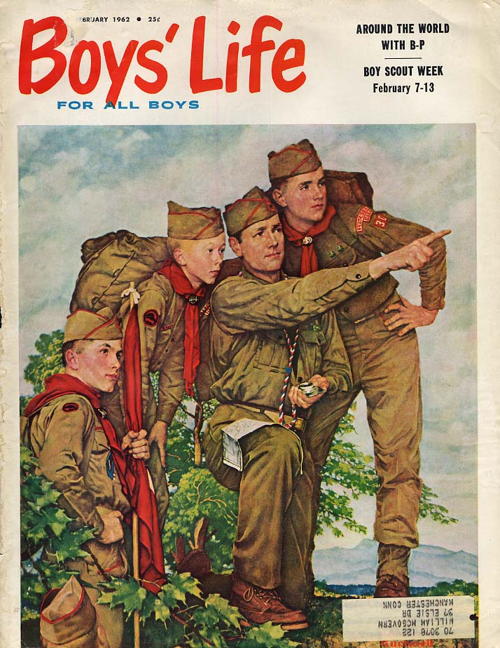 BOYS' LIFE COVER 1962 Scoutmaster & 3 scouts by Norman Rockwell