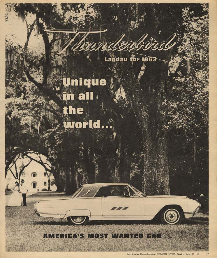 Image for Unique in all the world Ford Thunderbird Landau ad 1963