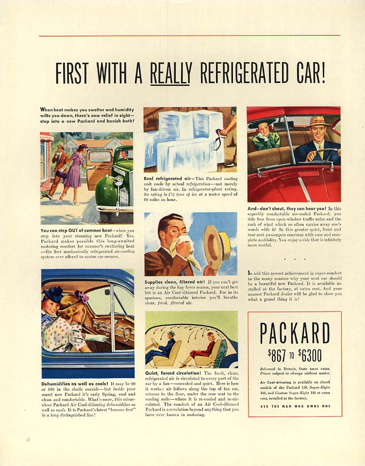 First with a really refrigerated car! Packard ad 1940 F