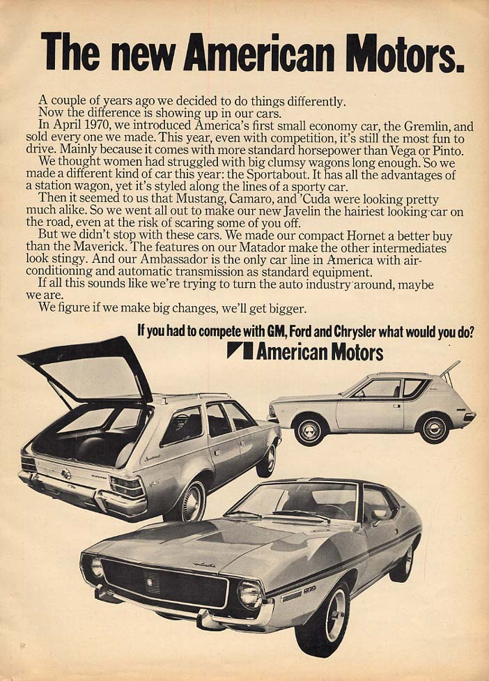 Image for The New American Motors - Gremlin, Sportabout & Javelin ad 1971