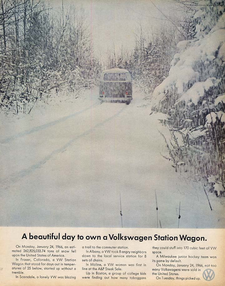 A beautiful day to own a Volkswagen Station Wagon ad 1967 snowstorm LK