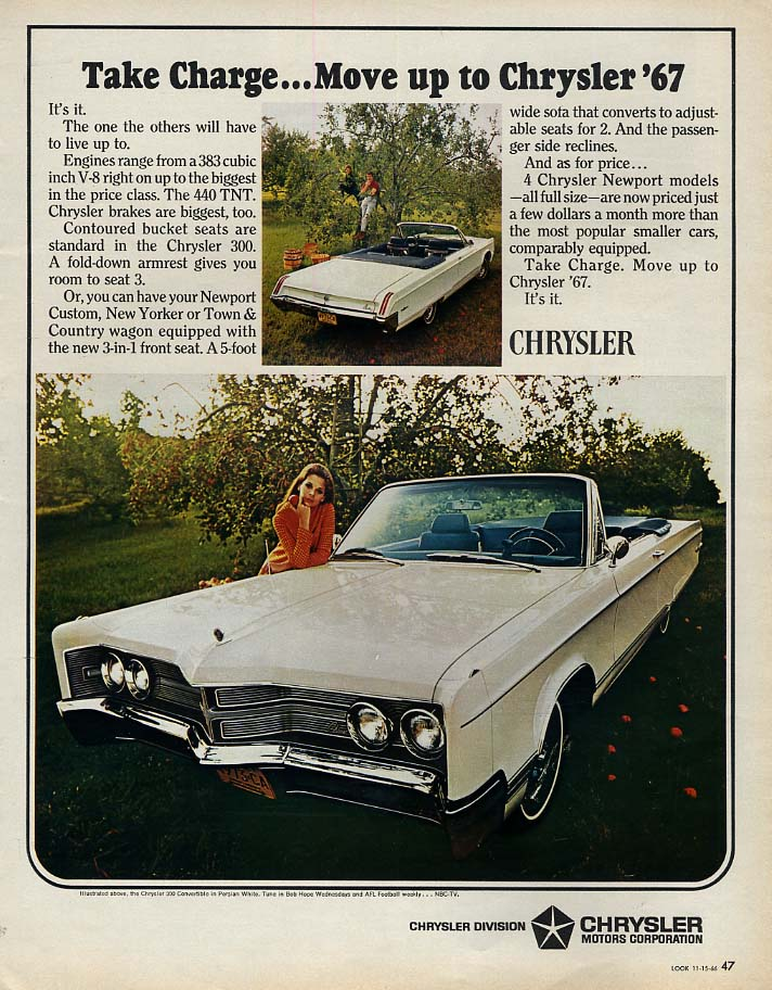 Image for Take Charge - move up to Chrysler 300 Convertible ad 1967 LK
