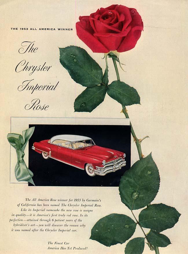 Image for The Chrysler Imperial Rose All America flower ad 1952 H&G