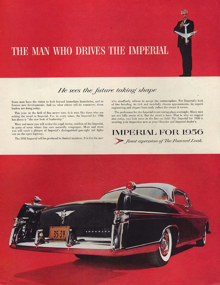 Image for He sees the future taking shape Imperial 2-door hardtop by Chrysler ad 1956 SEP