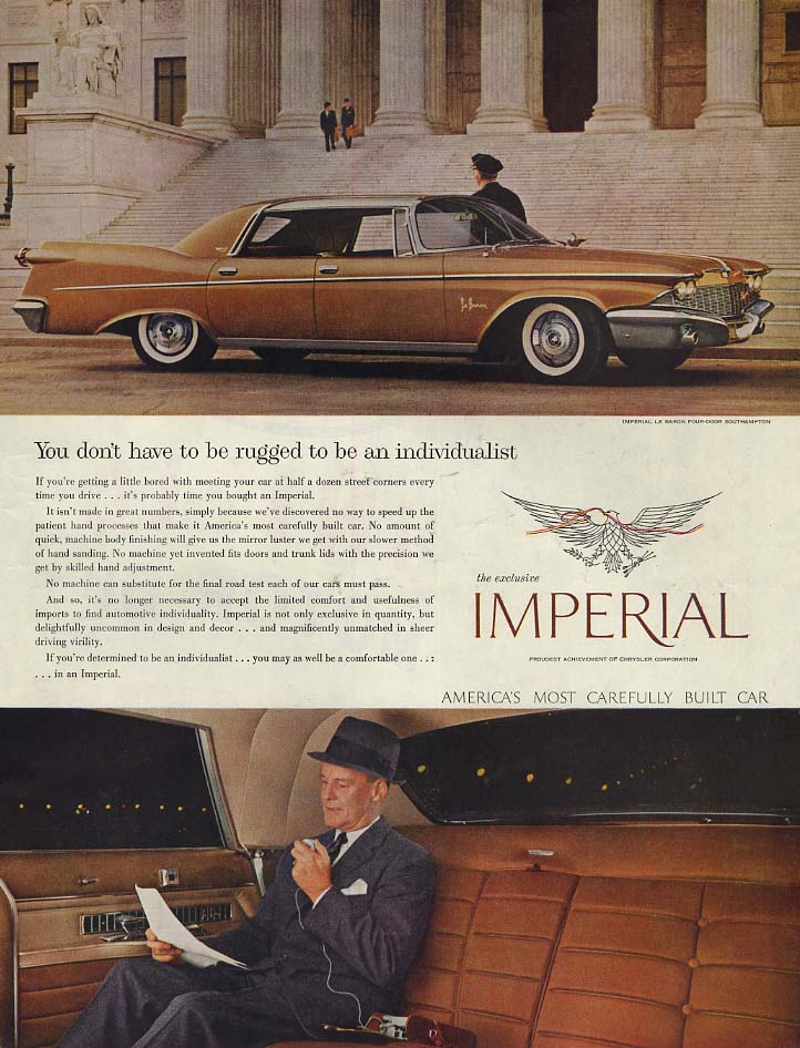 Image for You dont have to be rugged to be individualist: Imperial by Chrysler ad 1960 P