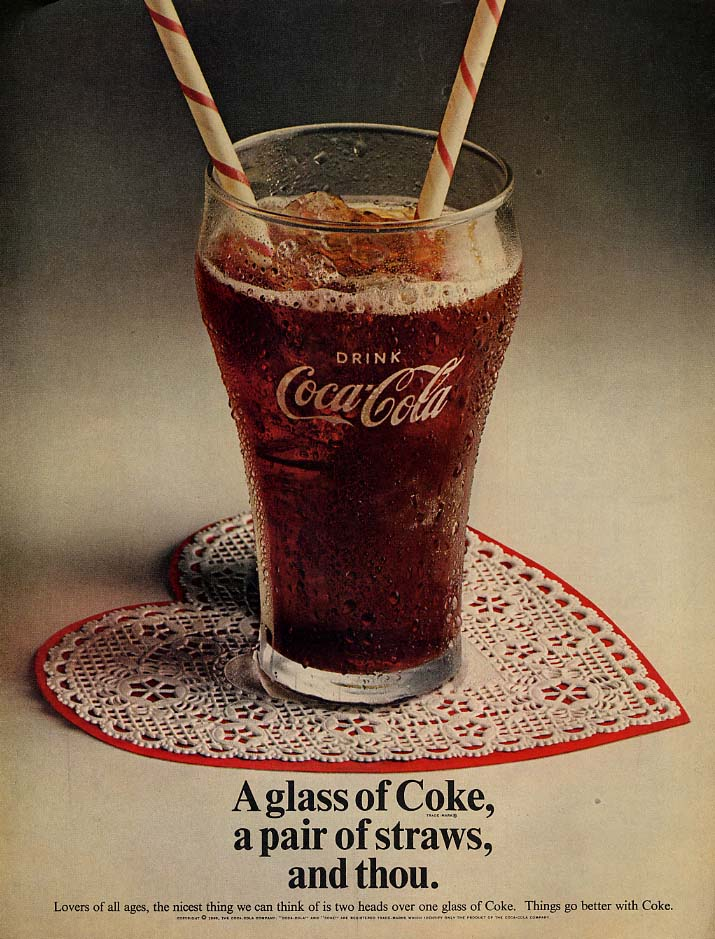 A glass of Coke, a pair of straws, and thou. Coca-Cola ad 1969
