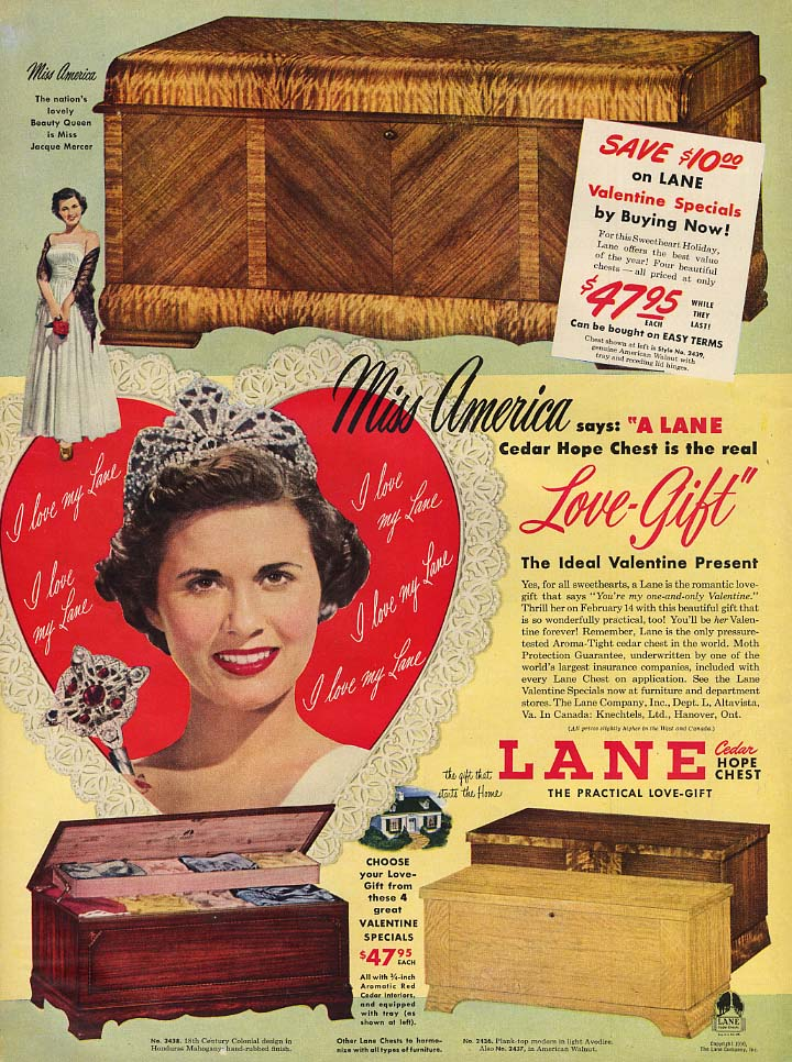 1949 Miss America Jacque Mercer for Lane Cedar Hope Chests ad 1950 L