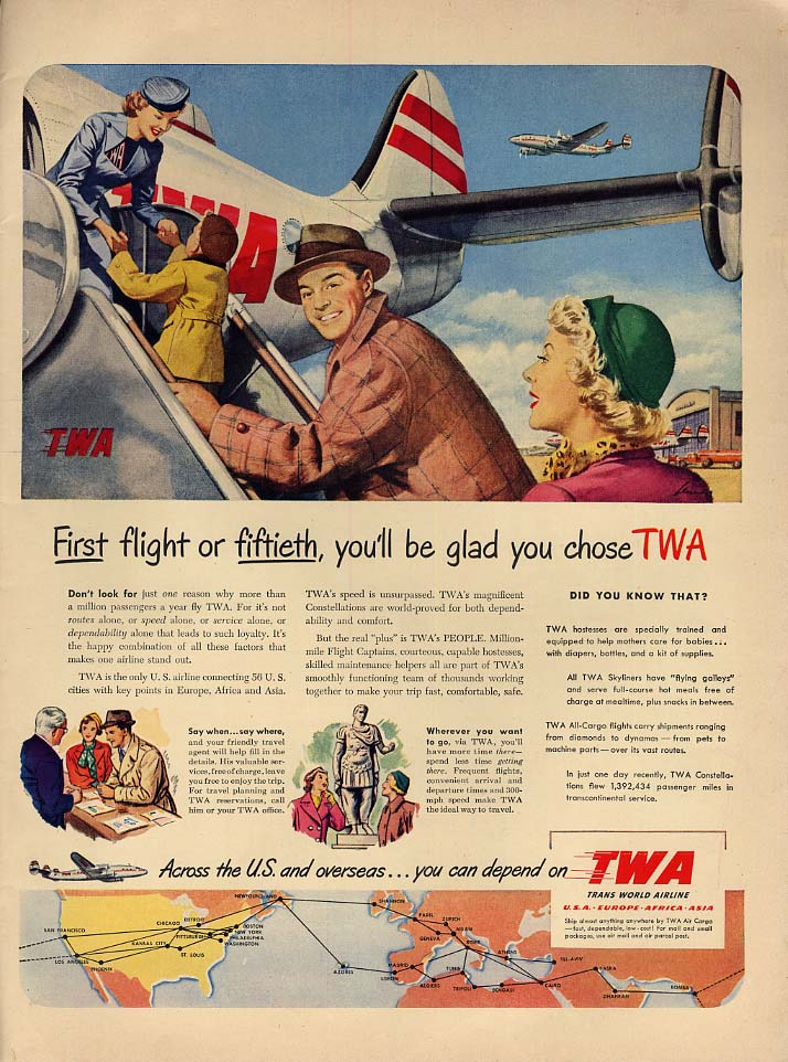 1st flight or 50th you'll be glad you chose TWA Trans World Airlines ad 1950 L