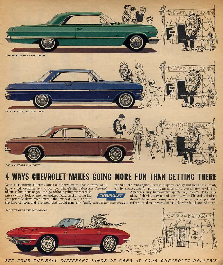 4 ways Chevrolet makes going more fun Corvette Impala Chevy II Corvair ad 1963 F