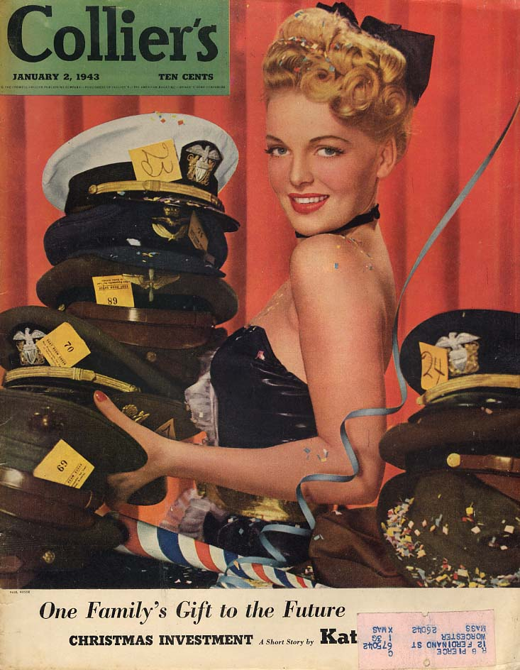COLLIER'S COVER 1943 New Year's Eve hatcheck gal with military caps Paul Hesse