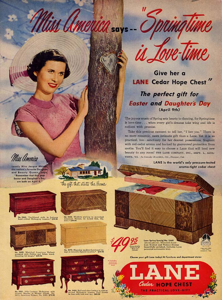 1949 Miss America Springtime is Love-time Lane Cedar Hope Chest ad 1950 L
