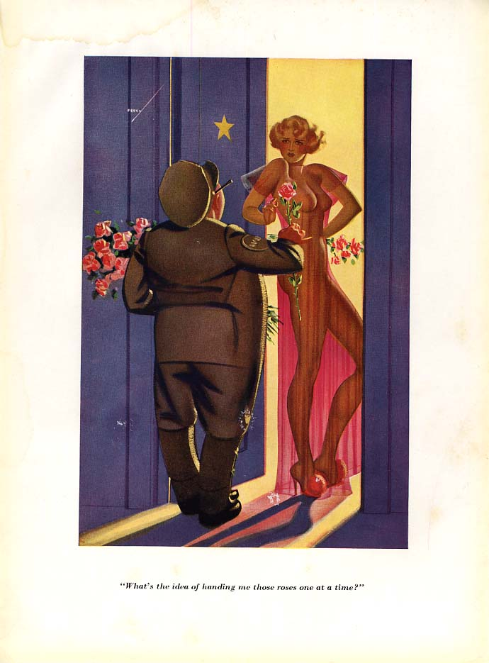 George Petty Esquire cartoon print 1935 Why hand me roses one at a time?