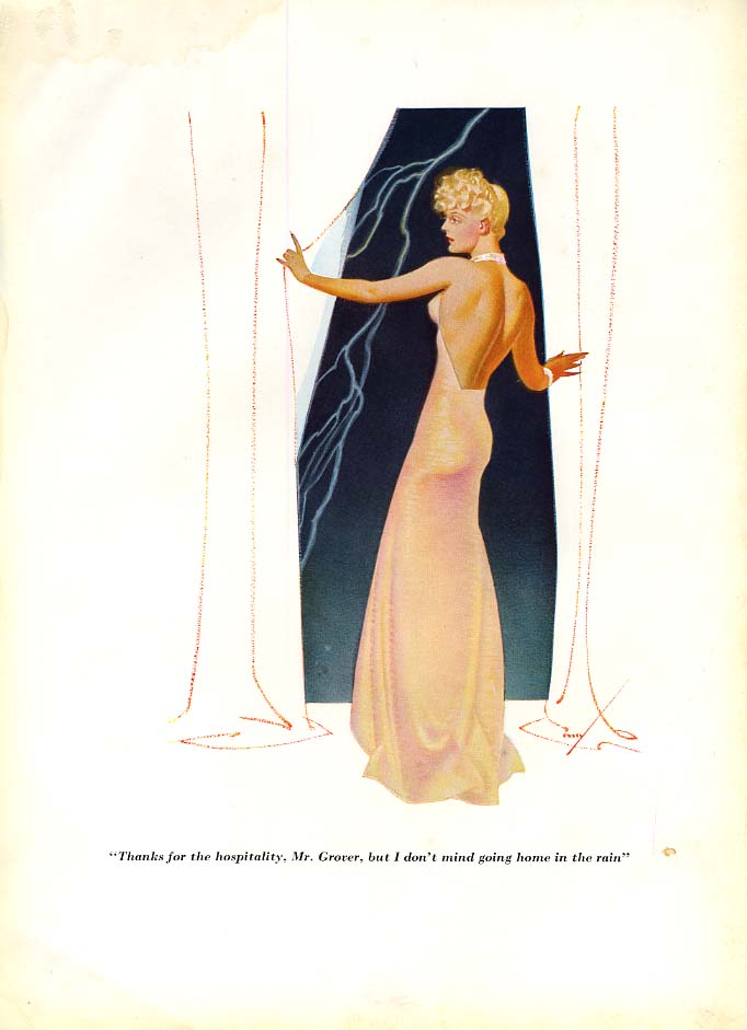 George Petty Esquire cartoon print 1930s I don't mind going home in the rain